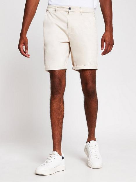 river-island-stone-skinny-shorts
