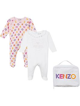 kenzo-baby-girls-2-pack-printed-jersey-babygrow-pinkwhite