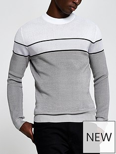 river-island-long-sleeve-waffle-blocked-jumper-grey