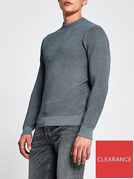 river-island-long-sleevenbspwaffle-knitted-jumper-bluenbsp
