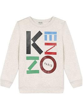 kenzo-boys-logo-crew-sweatshirt-beige