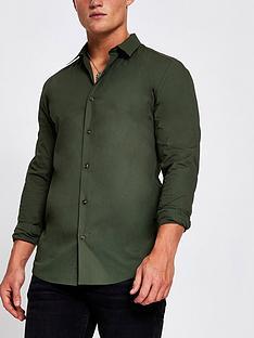 river-island-grandad-collar-muscle-fit-shirt-khaki