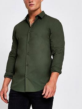 river-island-grandad-collar-muscle-fit-shirt-khaki