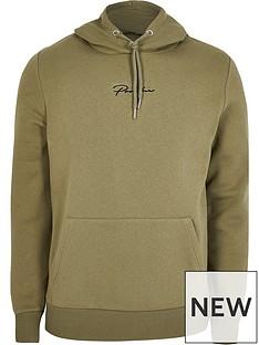 river-island-prolific-logo-overhead-hoodie-khaki