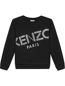 kenzo-girls-foil-logo-crew-sweatshirt--nbspblack