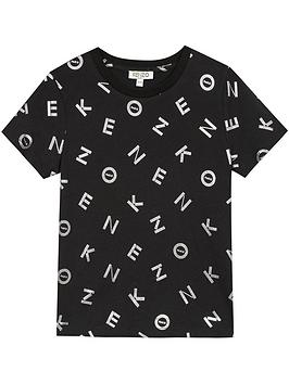 kenzo-girls-short-sleeve-foil-logo-t-shirt-black