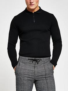 river-island-long-sleevenbspsmart-ribbed-polo-black