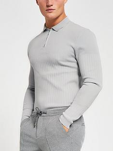 river-island-long-sleeve-smart-ribbed-polo-grey