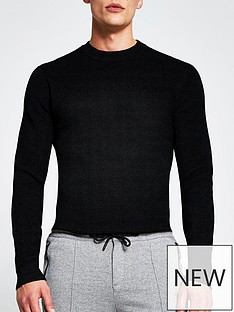 river-island-long-sleevenbspwaffle-knitted-jumper-black