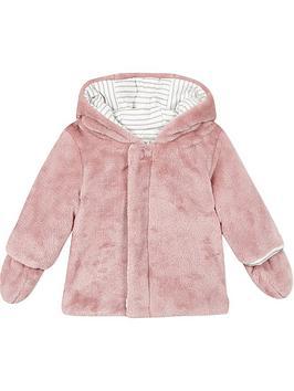 absorba-baby-girls-faux-fur-hooded-coat-mittens