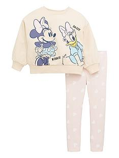 minnie-mouse-girls-disney-minnie-mouse-and-daisy-duck-two-piece-sweat-and-legging-set-beige