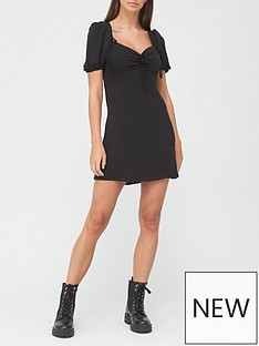 river-island-ruched-tie-tea-dress-black