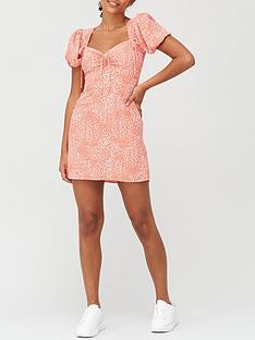 river-island-ruched-tie-tea-dress-red-print