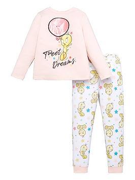 looney-tunes-girls-tweet-dreams-sequin-detail-pjs-pink