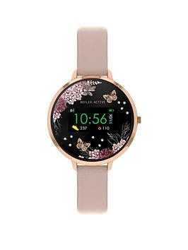 reflex-active-reflex-active-series-3-smart-watch-with-floral-detail-colour-screen-crown-navigation-and-nude-pink-strap