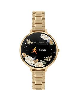 reflex-active-reflex-active-series-3-smart-watch-with-floral-detail-colour-screen-crown-navigation-and-gold-stainless-steel-bracelet