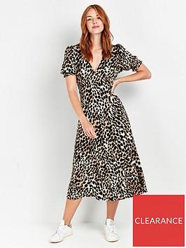 wallis-neutral-animal-print-midi-dress-multi