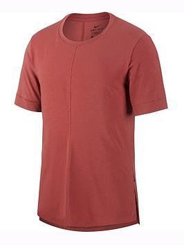 nike-short-sleeve-yoga-top-redblack