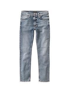 nudie-jeans-lean-dean-slim-fit-jeans-wornnbspblue