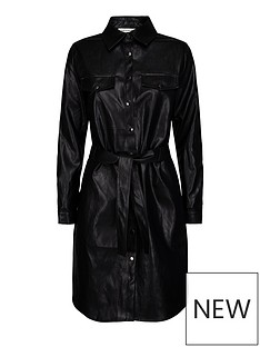 sofie-schnoor-faux-leather-dress-black