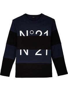 no-21-boys-long-sleeve-colourblock-logo-t-shirt-blacknavy