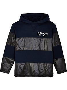 no-21-boys-colourblock-logo-hoodie-navyblack