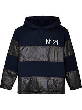 no-21-boys-colourblock-logo-hoodie-navyblack