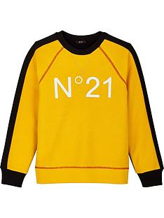 no-21-boys-logo-colourblock-crew-sweatshirt-yellow