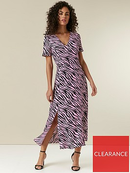wallis-zebra-split-midi-dress-pink
