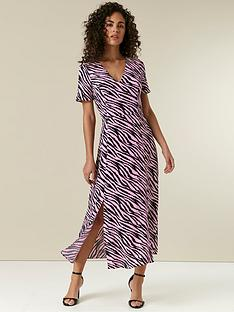 wallis-zebra-split-midi-dress
