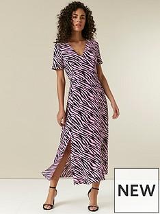 wallis-zebra-split-midi-dress