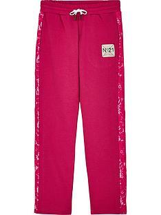 no-21-girls-lace-trim-logo-joggers-pink