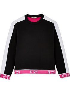 no-21-girls-logo-cuff-crew-neck-sweatshirt-blackpink