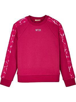 no-21-girls-lace-trim-logo-crew-sweatshirt-pink
