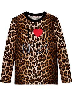 no-21-girls-long-sleeve-leopard-print-logo-t-shirt-brown