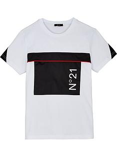 no-21-boys-short-sleeve-patch-logo-t-shirt-white