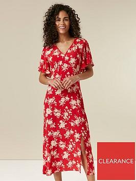 wallis-floral-midi-dress-red