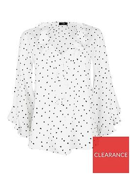 wallis-heart-print-ruffle-top-white