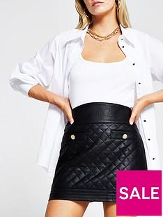 ri-petite-pu-quilted-mini-skirt-black