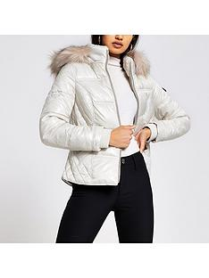 river-island-river-island-fitted-padded-jacket-cream