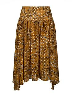 sofie-schnoor-patterned-midi-skirt-mustard