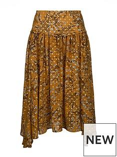 sofie-schnoor-patterned-midi-skirt-mustard
