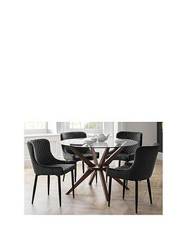 Julian Bowen Set Of Chelsea 120 Cm Round Glass Top Dining Table + 4 Luxe Grey Chairs