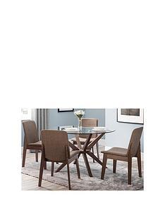 julian-bowen-set-of-chelsea-round-glass-table-4-kensington-fabric-chair
