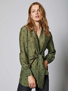 mint-velvet-spot-print-tie-front-blouse-khaki