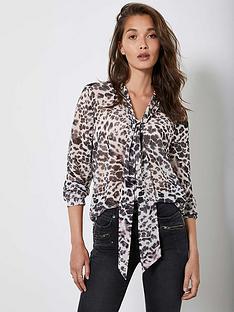 mint-velvet-amber-animal-print-tie-neck-longline-blouse-neutral