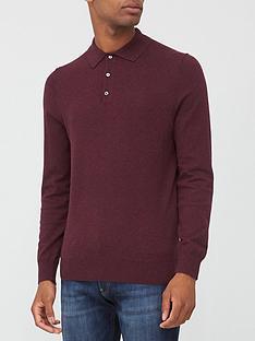 burton-menswear-london-fine-gauge-knitted-polo-top-burgundy