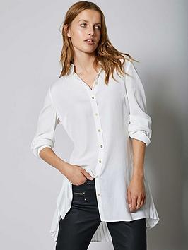 Mint Velvet Pleat Back Longline Shirt - Ivory