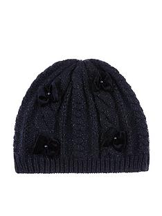 monsoon-girls-recycled-sparkle-velvet-bow-beanie-hat-navy