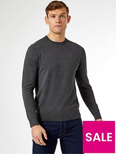 burton-menswear-london-fine-gauge-crew-neck-jumper-grey